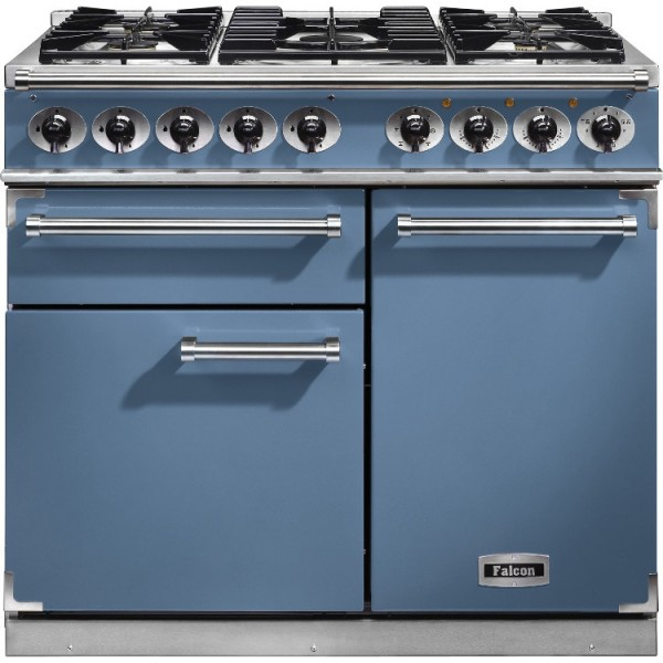 Falcon 1000 DX DF China Blue Nickel 98620 Dual Fuel Range Cooker