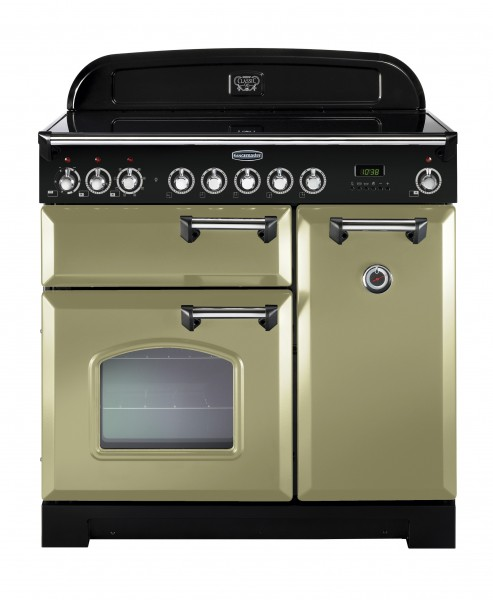 Rangemaster Classic Deluxe 90CER Olive Green Chrome 100890 Electric Range Cooker