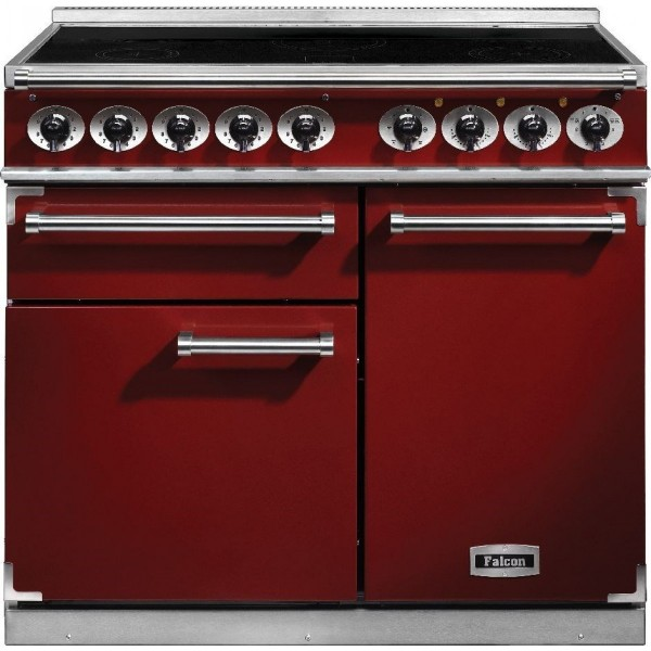 Falcon 1000 DX IND Cherry Red Nickel 100140 Electric Range Cooker