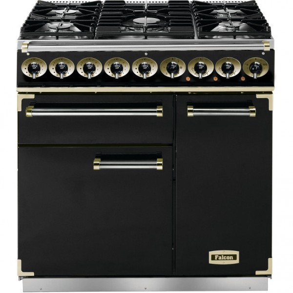 Falcon 900 DX DF Black Brass 77010 Dual Fuel Range Cooker