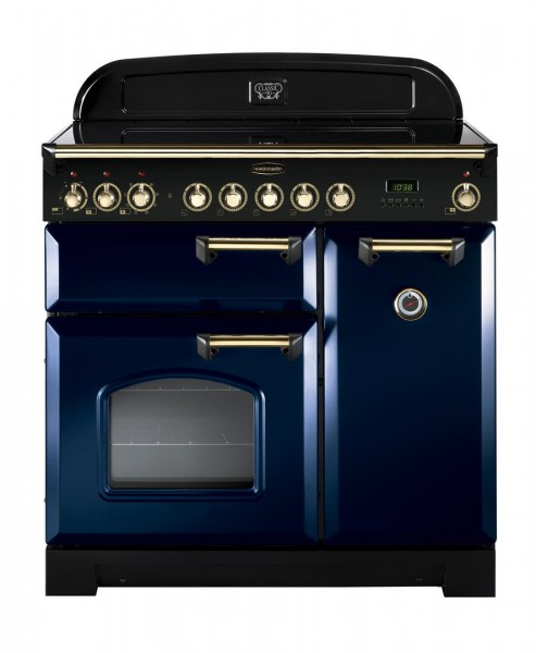 Rangemaster Classic Deluxe 90IND Blue Brass 113720 Electric Range Cooker
