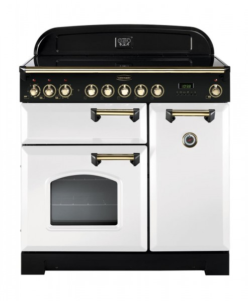 Rangemaster Classic Deluxe 90IND White Brass 113740 Electric Range Cooker