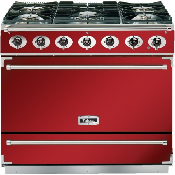 Falcon 900S DF Cherry Red Nickel 87360 Dual Fuel Range Cooker
