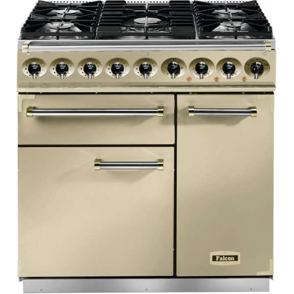 Falcon 900 DX DF Cream Brass 77000 Dual Fuel Range Cooker