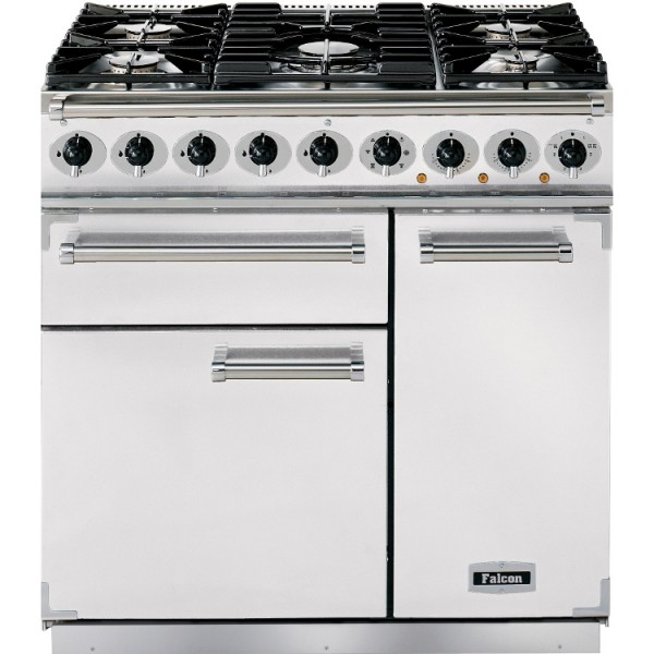 Falcon 900 DX DF White Nickel 82380 Dual Fuel Range Cooker