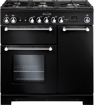Rangemaster Kitchener 90DF Black 81420 Dual Fuel Range Cooker