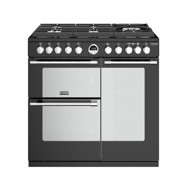 Stoves Sterling Deluxe S900DF GTG Black Dual Fuel Range Cooker