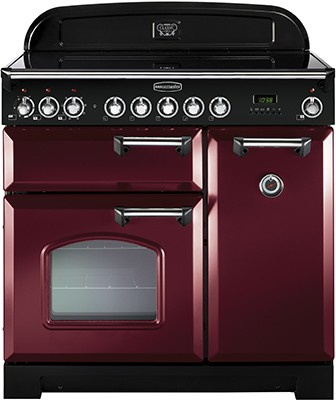 Rangemaster Classic Deluxe 90CER Cranberry Brass 84510 Electric Range Cooker