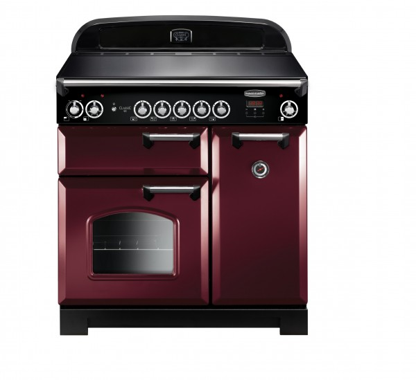 Rangemaster Classic 90IND Cranberry Chrome 116960 Electric Range Cooker