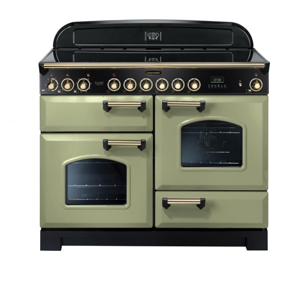 Rangemaster Classic Deluxe 110CER Olive Green Brass 114590 Electric Range Cooker
