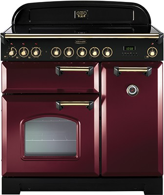 Rangemaster Classic Deluxe 90IND Cranberry Brass 90290 Electric Range Cooker