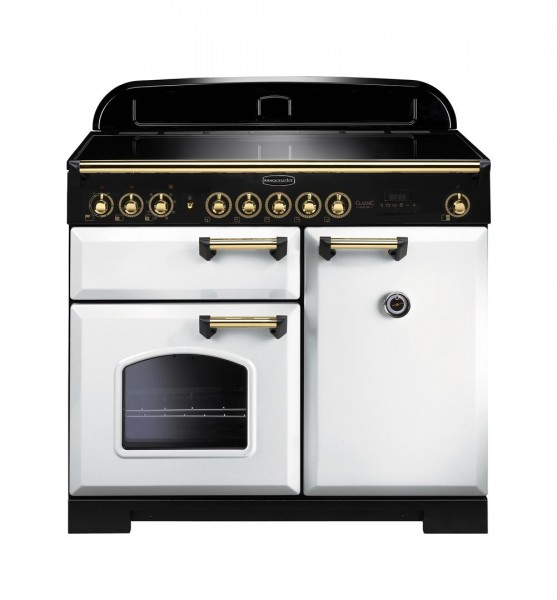 Rangemaster Classic Deluxe 100IND White Brass 114040 Electric Range Cooker