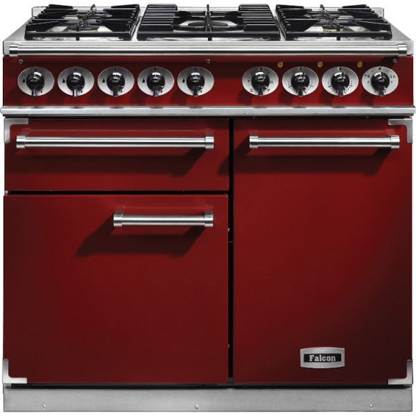 Falcon 1000 DX DF Cherry Red Nickel 98640 Dual Fuel Range Cooker