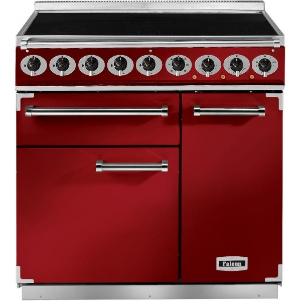 Falcon 900 DX IND Cherry Red Nickel 85600 Electric Range Cooker