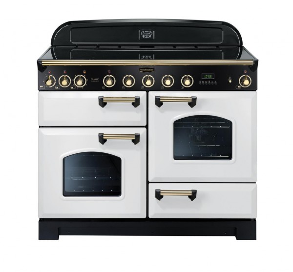 Rangemaster Classic Deluxe 110IND White Brass 113120 Electric Range Cooker