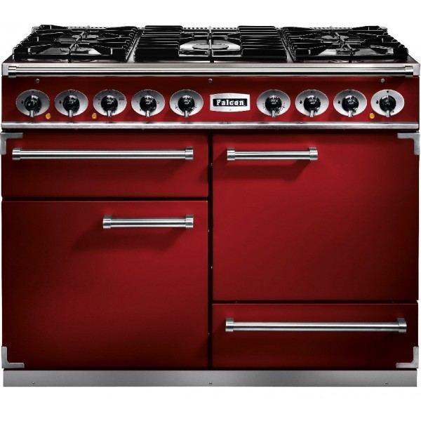 Falcon 1092 DX DF Cherry Red Nickel 87030 Dual Fuel Range Cooker