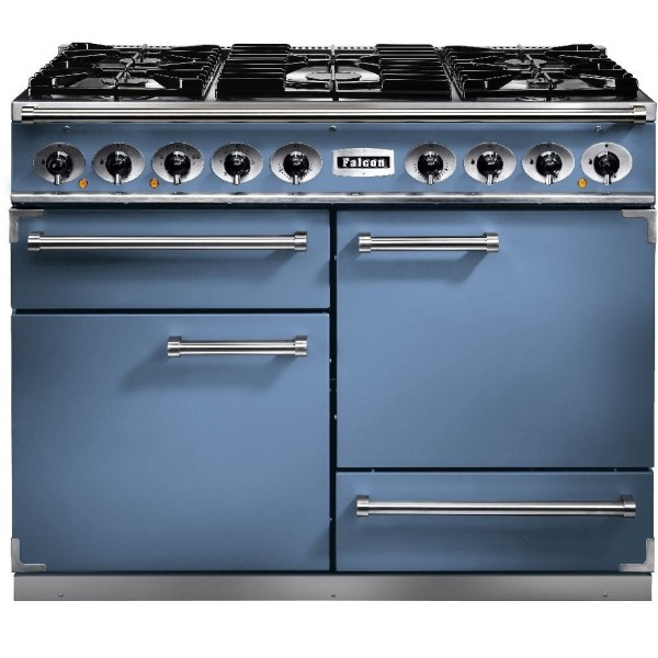 Falcon 1092 DX DF China Blue Nickel 80610 Dual Fuel Range Cooker