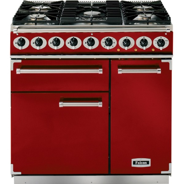 Falcon 900 DX DF Cherry Red Nickel 87080 Dual Fuel Range Cooker
