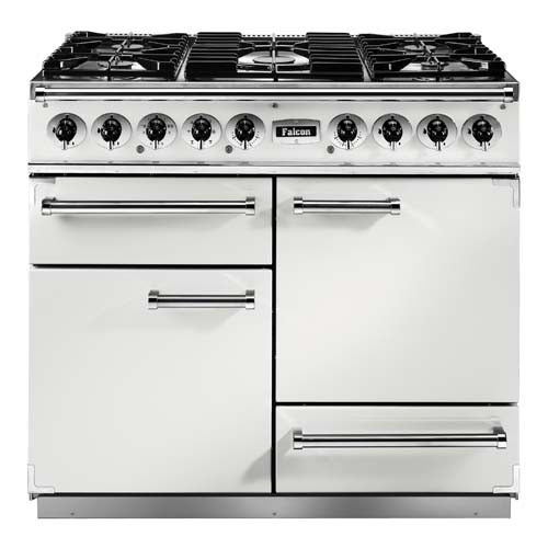 Falcon Continental 1092 DF White Nickel 82360 Dual Fuel Range Cooker