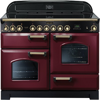 Rangemaster Classic Deluxe 110CER Cranberry Brass 84450 Electric Range Cooker