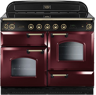 Rangemaster Classic Deluxe 110IND Cranberry Brass 90450 Electric Range Cooker