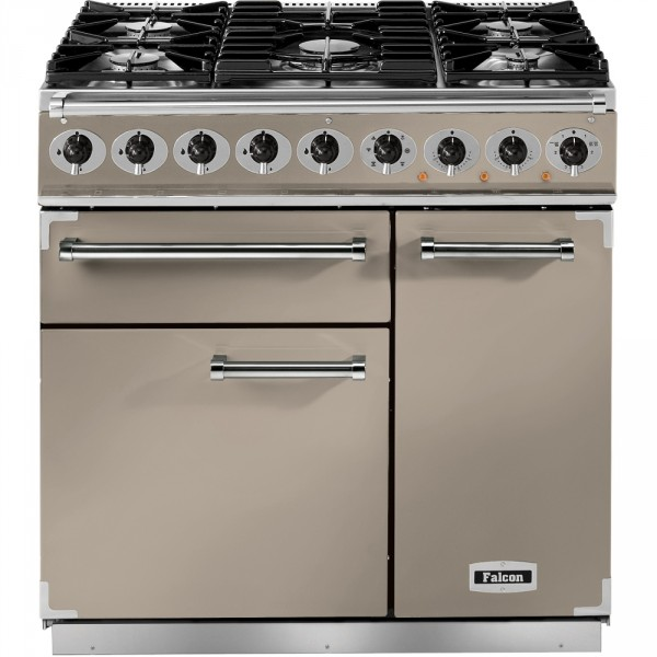 Falcon 900 DX DF Fawn Nickel 115300 Dual Fuel Range Cooker