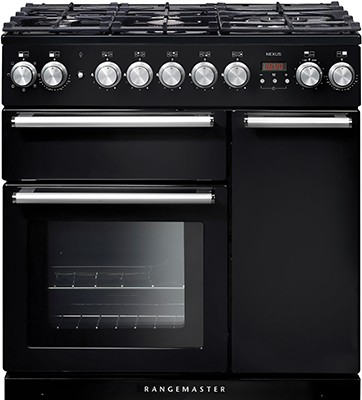 Rangemaster Nexus 90DF Black 104680 Dual Fuel Range Cooker