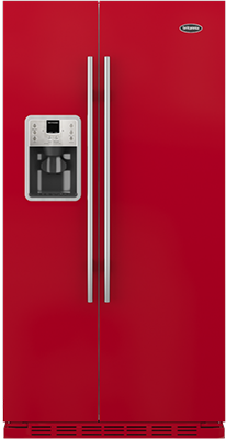 Britannia FF-MONTANA-R Gloss Red American Style Fridge Freezer
