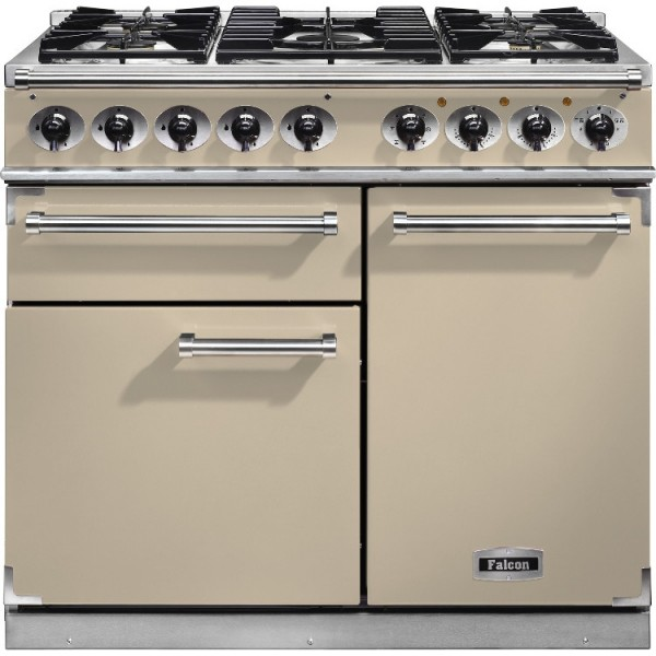 Falcon 1000 DX DF Cream Chrome 98610 Dual Fuel Range Cooker
