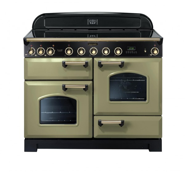 Rangemaster Classic Deluxe 110IND Olive Green Brass 114550 Electric Range Cooker