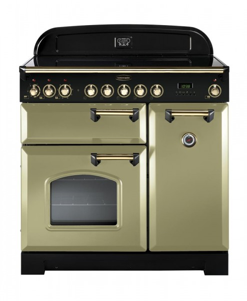 Rangemaster Classic Deluxe 90CER Olive Green Brass 114730 Electric Range Cooker