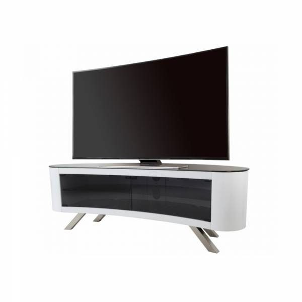 AVF FS1500: Affinity Bay Curved TV Stand in Gloss White