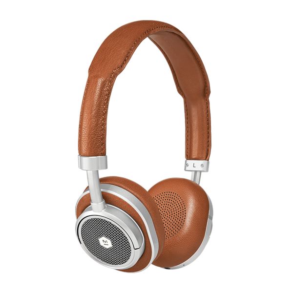 Master & Dynamic MW50+ Wireless 2-In-1 Headphones in Silver Metal / Brown Leather
