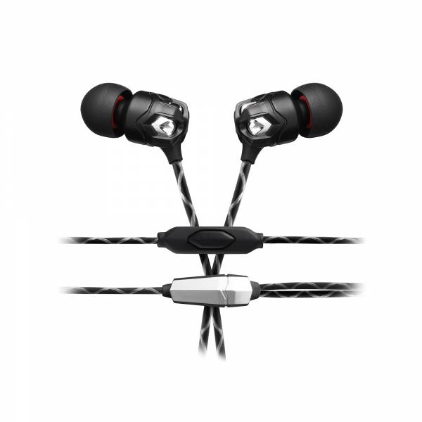 V-MODA ZN In-Ear Headphones with 1-Button Remote in Black close up ear phones