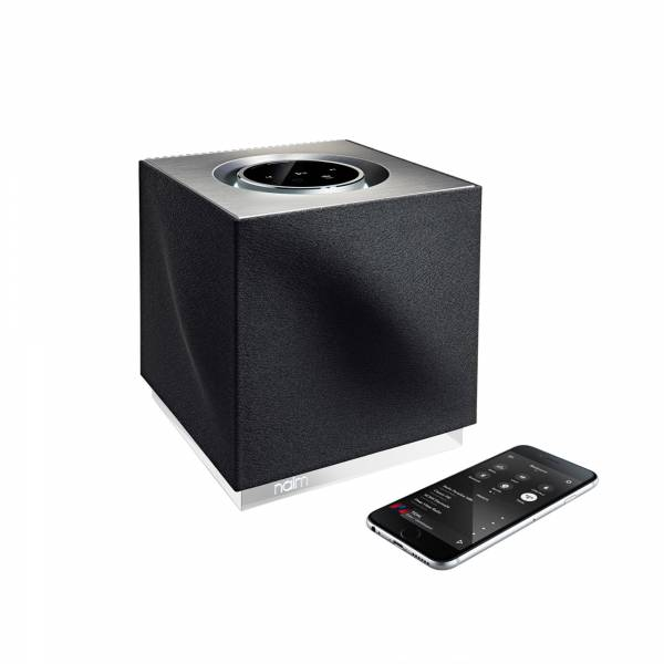 Naim Mu-So QB Speaker with phone right side view