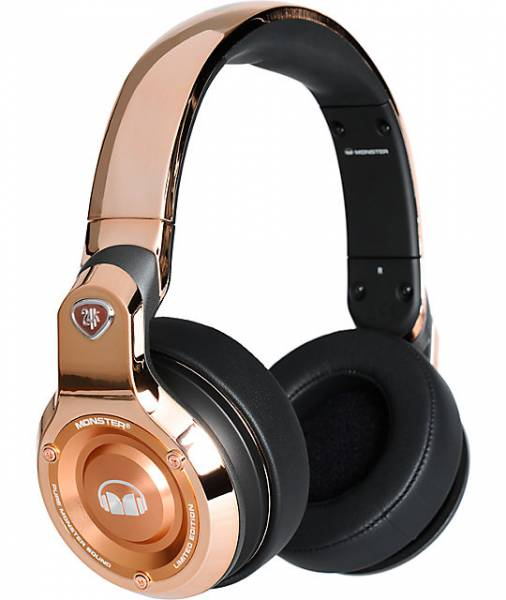 Monster 24K Over-Ear Headphones Rose Gold side tilted