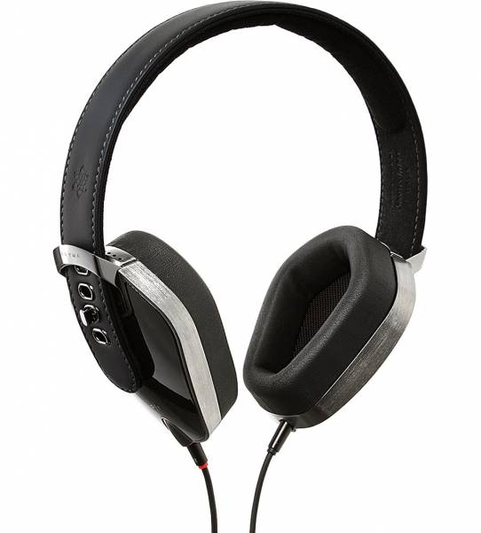 Pryma Leather Over-Ear headphones in Pure Black side view