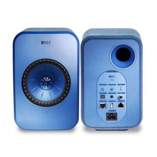 KEF LSX Wireless Speakers blue Back View