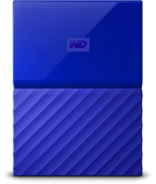 WD mY Passport hard drive blue front view