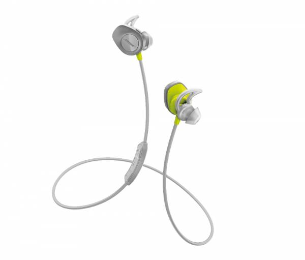 Bose SoundSport Wireless In-Ear Headphones in Citron Yellow full view