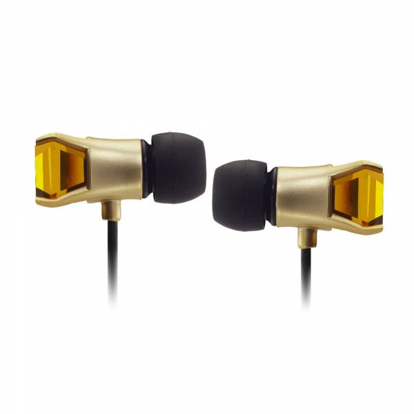 Maroo Gem Collection in Gold with Amber Gem (MROMREP7004) side view earbud