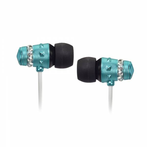 Maroo Ice Collection in Ear headphones in Turquoise with Clear Crystals side view