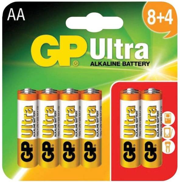 GP Ultra Alkaline AA Batteries - Pack of 12