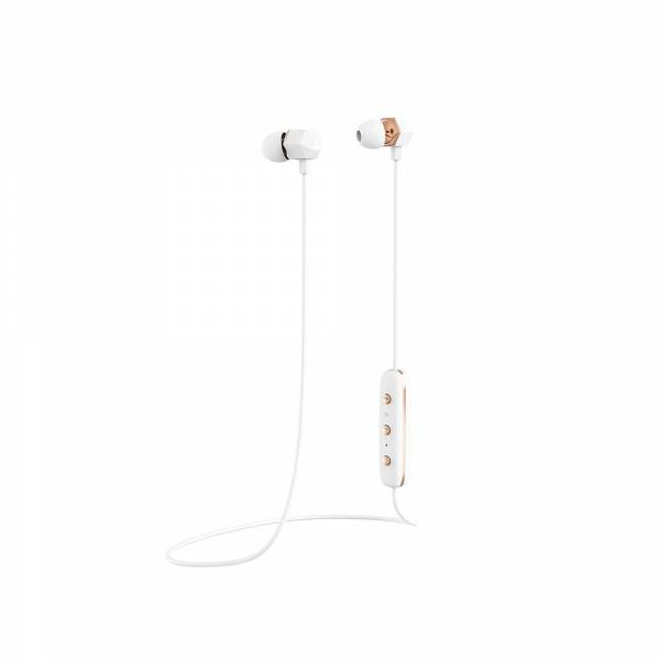 Happy Plugs Ear Piece Wireless Headphones in White and Rose Gold