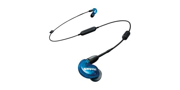 Shure SE215 Wireless Sound Isolating Earphones in Blue front view