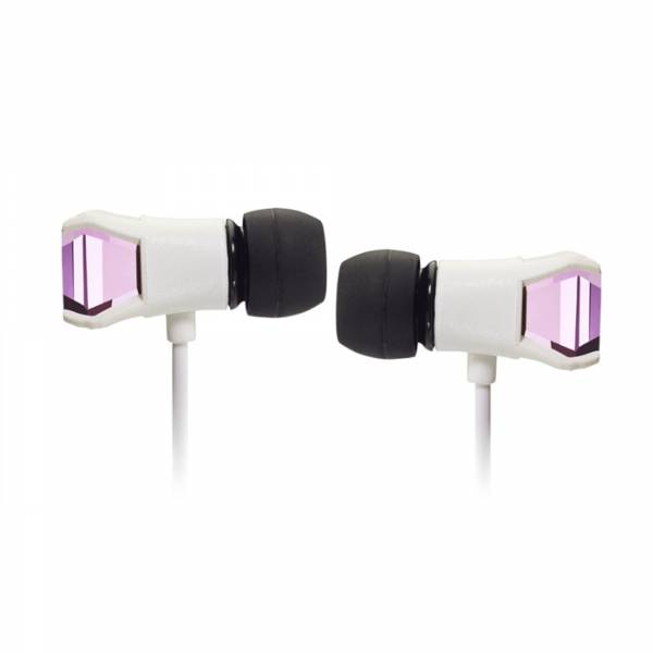 Maroo Gem Collection in White with Rose Gem earbuds side view