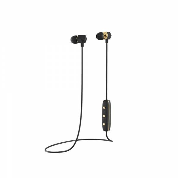 Happy Plugs Ear Piece Wireless Headphones in Black and Gold