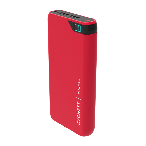 Cygnett ChargeUp Boost 15K Portable USB Power Bank in Red