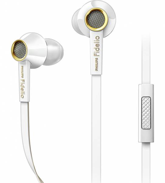 Philips Fidelio S2 in-ear headphones with mic in White