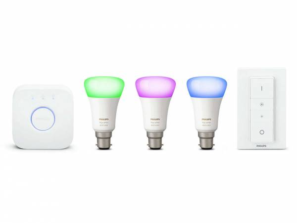 Philips Hue White & Colour Ambience B22 Starter Kit front view